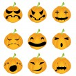Halloween Pumpkins Horror Persons Emotion — Stock Vector