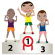 Stock Vector: Young sports men winners podium