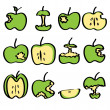 Stock Vector: Green bitten apple