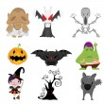 Set of funny halloween cartoons — Stock Vector