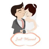 Bride and groom with a sign just married — Stock Vector