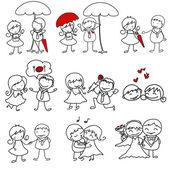 Çizilmiş aşk karakter karikatür — Stok Vektör