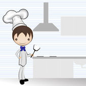 Chef and the kitchen vector illustration — Stock Vector