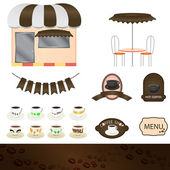 Illustration of a set of coffee shops — Stock Vector