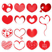 Collection-of-red-hearts — Vector de stock