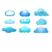 Cloud glossy icon set of 9 (Cloud computing concept) — Stok Vektör