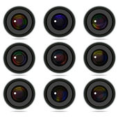 Set of 9 camera photo lens — Stock Vector