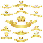 Gold 12 Crown Icons Set — Stock Vector