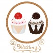 Wedding cupcakes bride and groom — Stock Vector
