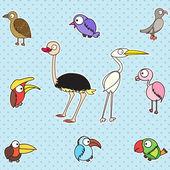 Sevimli kuş kümesi — Stok Vektör