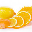 Orange and lemon fruit isolated on white — Stock Photo