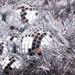 Stock Photo: Mirrow christmas balls on silver