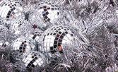 Bolas de natal mirrow na prata — Foto Stock