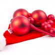 Stock Photo: Red christmas balls isolated on white