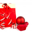 Stock Photo: Red christmas present on white