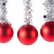 Stock Photo: Red christmas balls on white