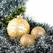 Stock Photo: Golden Chrismas balls