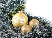 Golden Chrismas balls — Stock Photo