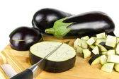 Eggplants with slices and cuts — Stock Photo