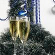 Christmas champagne glasses — Photo