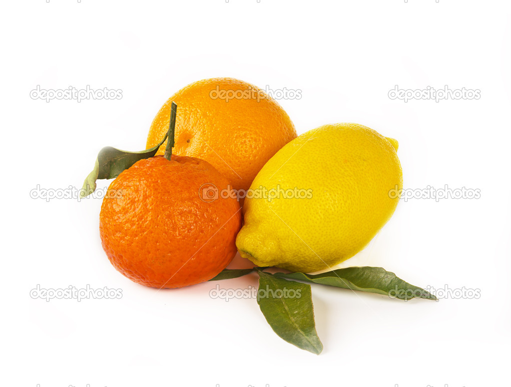 Citrus fruits on white background: mandarin, lemon and orange — Stock Photo #18435817