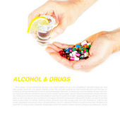 Medicals and alcohol with sample text — Stock Photo