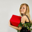 Young pretty woman with christmas present — Stock Photo