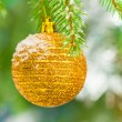 Christmas balls outdoors — Stock Photo