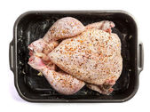 Raw chicken redy to be roasted — Stock Photo