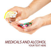 Alcohol and pills — Stock Photo