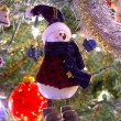 Snowman ornament on tree - Stock Photo