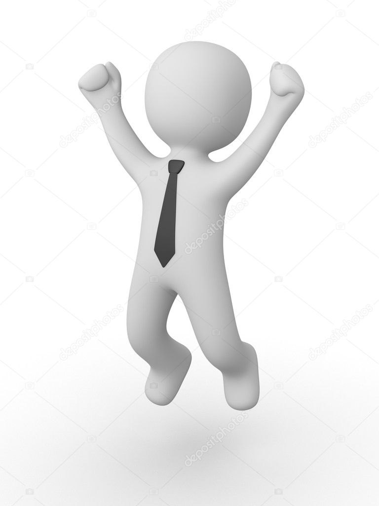 3d man jumping of happiness and success.  Stock Photo #12883563