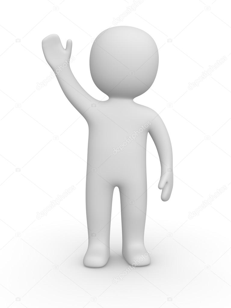 3d man raised one's hand for greeting. — Stock Photo #12884384