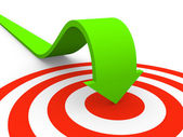 Arrow pointing on target — Stock Photo