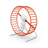 3d human running in the hamster wheel — Stock Photo