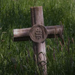 Cross in llong grass — Stock Photo
