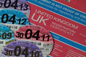 Car Registration Certificate with Car Tax Discs — Stock Photo