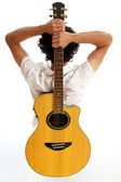 Go Folk - Guitar on his back — Stock Photo