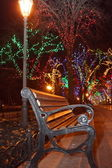 View of bench and shining lantern — Stock Photo