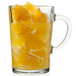 Orange pulp and juice in glass — Stock Photo