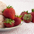Plate of strawberry ice cream with strawberry — Stock Photo