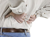 Close up image of aged man having back pain — Stock Photo