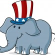 Vector image of a elephant wearing uncle s sam hat — Stock Vector