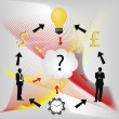 Vector image of businessmen with question mark idea bulb and clo — Stock Vector