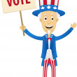 Vector image of uncle sam holding vote placard — Stock Vector #13233932