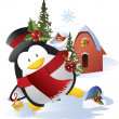Christmas penguin vector — Stock Vector