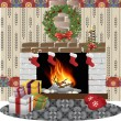 Fireplace christmas vector — Stock Vector