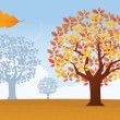 Autumn background with trees and leaves — Stock Vector