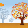 Stock Vector: Autumn background with trees and leaves