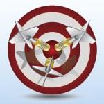 Three dart pin in a dart target — Stock Vector
